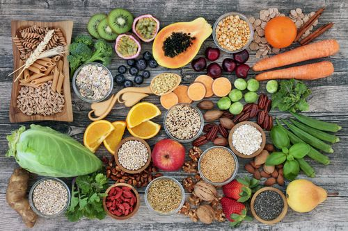 High fiber foods including whole grains, fruits and vegetables