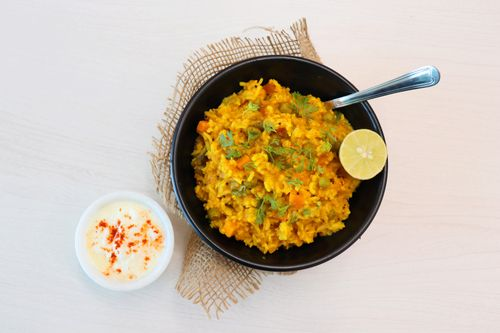 vegetable khichdi with curd