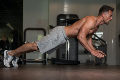 Plank jump ins to pushup